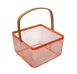 Panier rectangulaire orange avec poignée