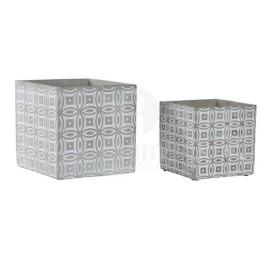 Set de 2 supports pot de fleurs en ciment 14x14 cm