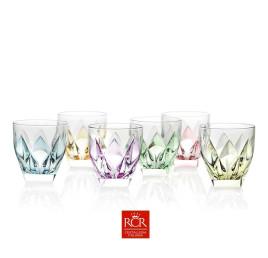 Coffret de 6 verres à eau NINPHEA forme basse 33cl coloré au fond