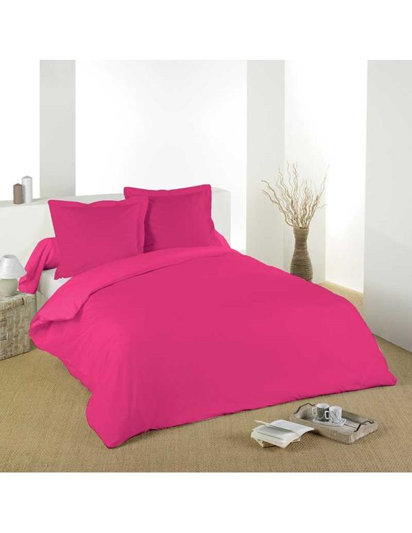 housse de couette coton uni fushia 260 x 240cm casa square. Black Bedroom Furniture Sets. Home Design Ideas