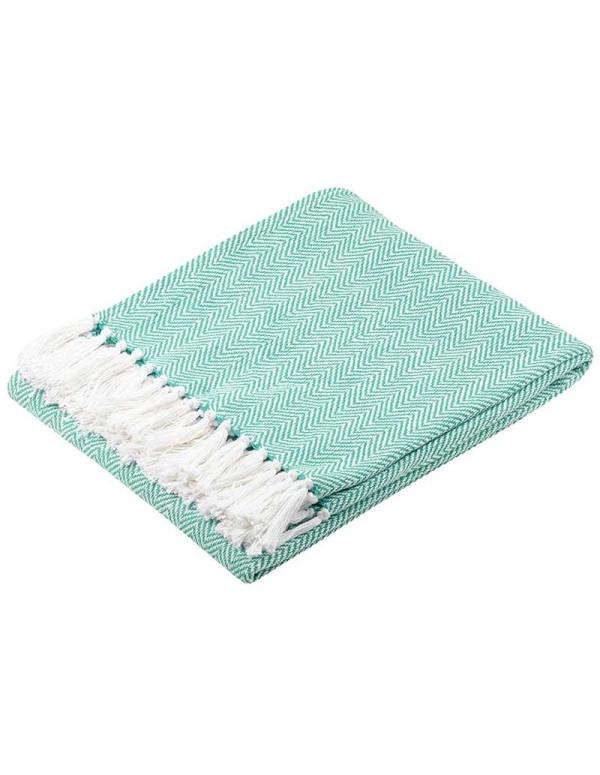 Plaid coton IKATI 125X150 cm bleu ciel
