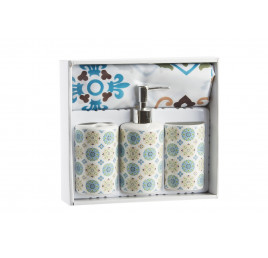 Set de 4 accessoires de salle de bain MANDALA en céramique avec rideau