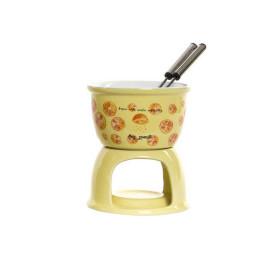 Fondue au chocolat jaune en grès FONDUE 10X13 cm