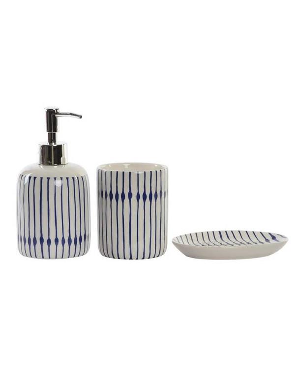 Set de 3 accessoires de salle de bain lines en porcelaine casa square - Casa accessoire salle de bain ...
