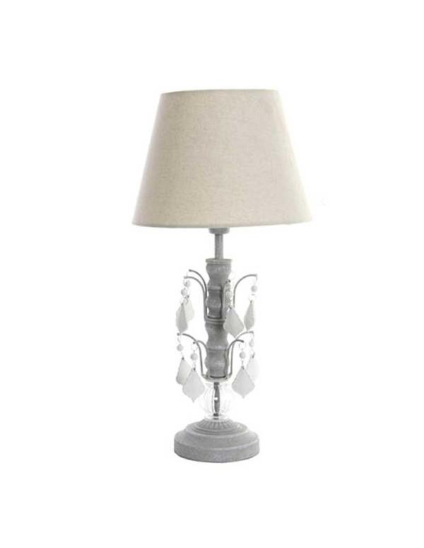 Lampe de table blanche acrylique et métal 20X50 cm