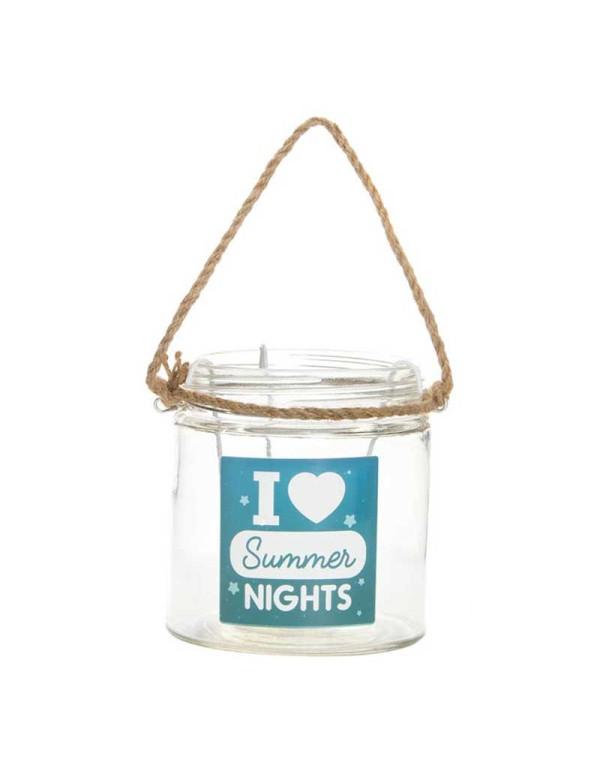 Bougeoir SUMMER NIGHT en verre avec corde 11X12 cm