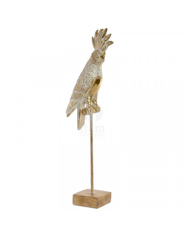 Figure CACATOES doré en résine 17X9X50 cm