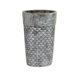 Support pot à fleurs COQUILLAGE en ciment 14X14X22 cm