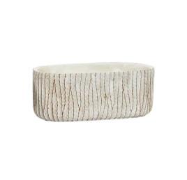 Support pot à fleurs blanc en ciment effet vieilli 24X13X9,5 cm
