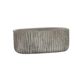 Support pot à fleurs gris en ciment effet vieilli 24X13X9,5 cm