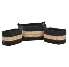 Set de 3 corbeilles tressées SEAGRASS 36X25X17 cm en coton et fibre