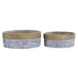 Set de 2 supports pot à fleurs BLUE en ciment 24X24X9 cm
