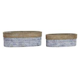 Set de 2 supports pot à fleurs ovales BLUE en ciment 29,5X11,5X10,5 cm