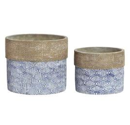 Set de 2 supports pot à fleurs ronds BLUE en ciment 17X17X14,5 cm
