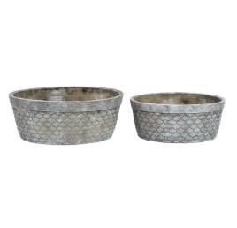 Set de 2 supports pot à fleurs COQUILLAGE en ciment 23,5X23,5X9 cm