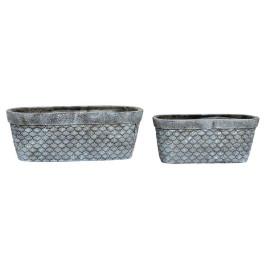 Set de 2 supports pot à fleurs ovales COQUILLAGE en ciment 28,8X11,5X10,5 cm