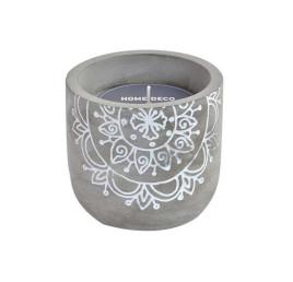 Bougie MANDALA en ciment gris 10x10x9 cm