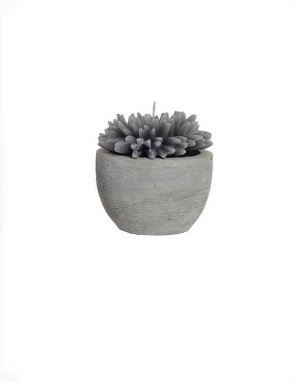 Bougie fleur en ciment gris