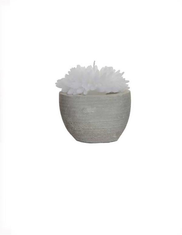 Bougie fleur en ciment blanc