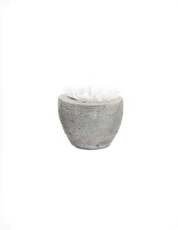 Bougie fleur en ciment blanc 5x6 cm