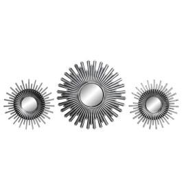 Set de 3 Miroir forme soleil argent