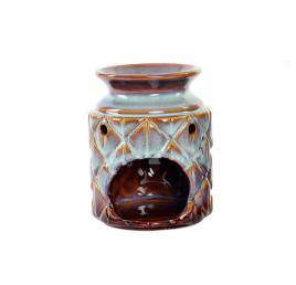 Bruleur de parfum LOSANGES marron en porcelaine 10X10X13 cm