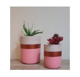 Set de 2 pots cylindre rose
