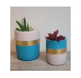 Set de 2 pots cylindre bleu