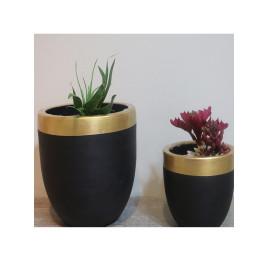 Set de 2 pots rond noir