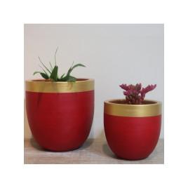 Set de 2 pots rond rouge