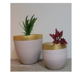 Set de 2 pots rond beige