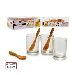 Set de 3 verres avec cuilleres bambou