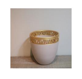 Pot BEIGE bordé en doré 30/30 cm