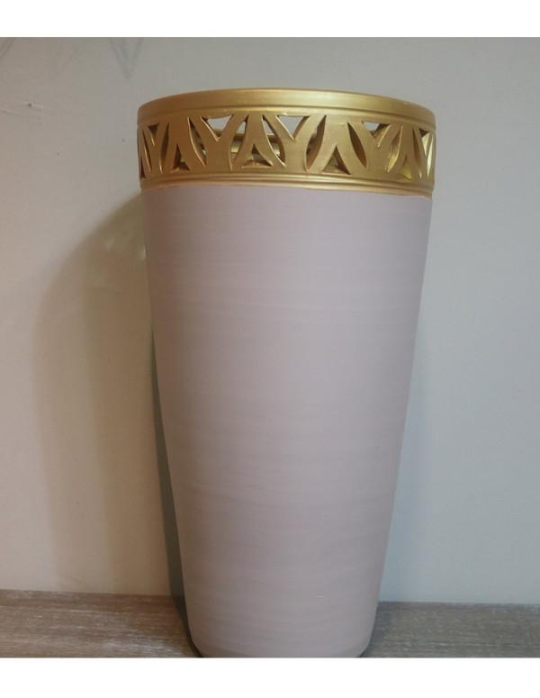Pot beige bordé en doré 30/50 cm