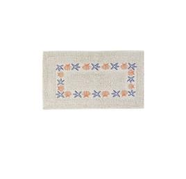 Tapis de bain COQUILLAGE ORANGé étoile bleu marin en coton 70X40 cm
