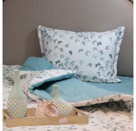 Set de lit une place et demi 180 x240 100% coton papillon bleu