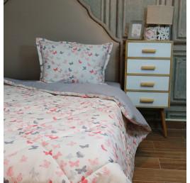 Set de lit une place et demi 180 x240 100% coton papillon rose