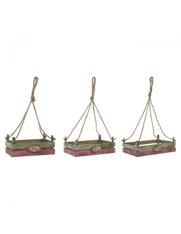 Set de 3 SUPPORT POT JARDIN en BOIS 33X33X13 cm