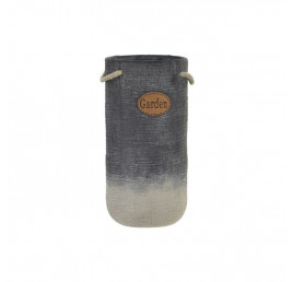 VASE JARDIN GRIS avec CORDE 14X14X28 cm