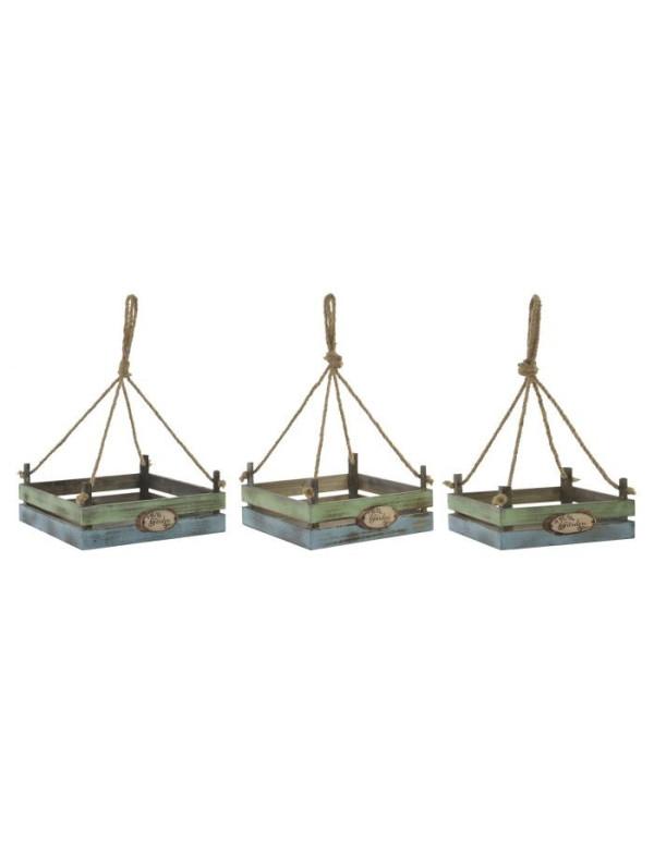 set de 3 SUPPORT POT FLEURS en BOIS 33X33X13 cm