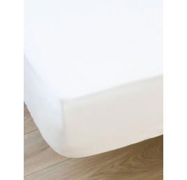 Drap housse 100% coton en Blanc 240X220 cm