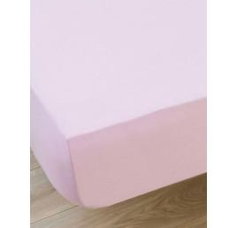 Drap housse 100% coton en rose 240X220 cm