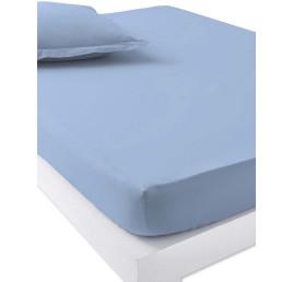 Drap housse 100% coton en bleu 260x240 cm
