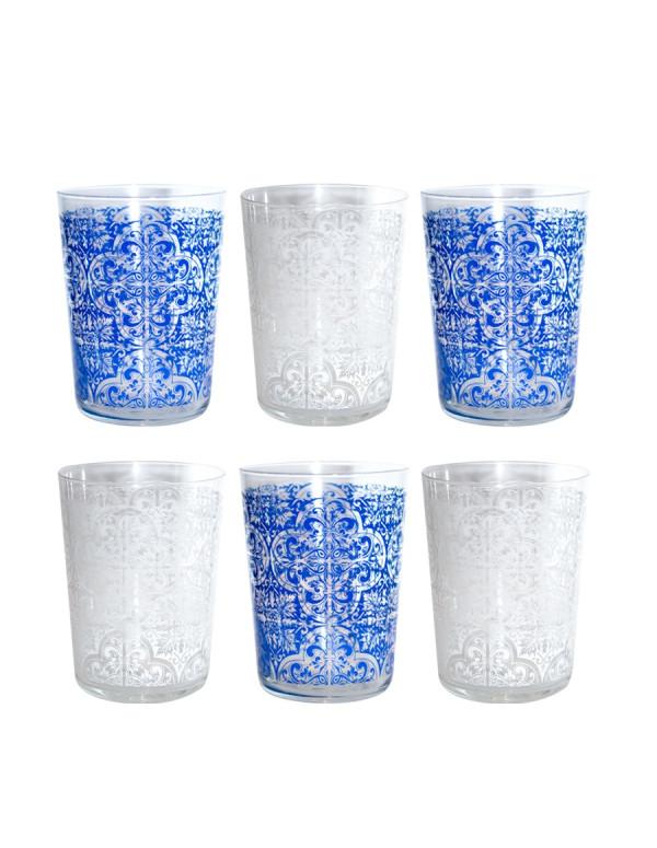 "Set de 6 verres CIDRE ""AZULEJO"" cristal bohemia 55cl"