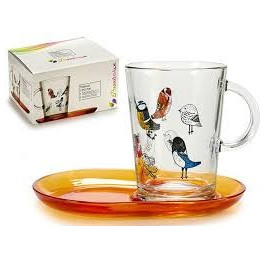 Tasse de café+ sous tasse OISEAU