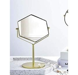 Miroir à poser en hexagone métal doré