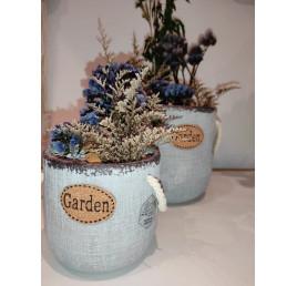 Pack set de 2 pots fleurs de jardin bleu
