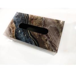 Porte Kleenex effet marbre gris