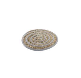 SET DE TABLE ROND EN COTON FIBRE GRIS 20X20 cm