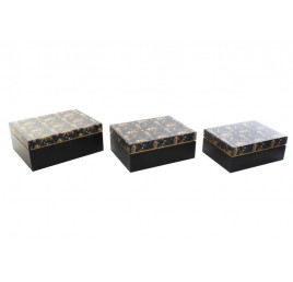SET DE 3 Boites de rangement carton Bleu 28x22x11,5